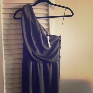 One-Shoulder Hunter Green ASOS Floor-Length Gown